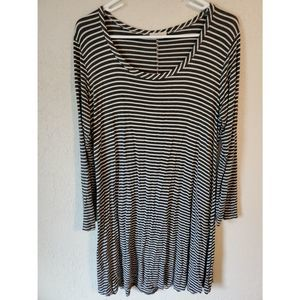 Xl stretch dress long sleeve grey stripes